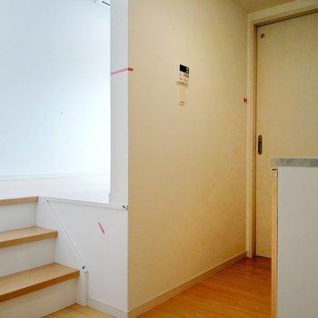 玄関を入ってすぐ。小さな階段を発見。