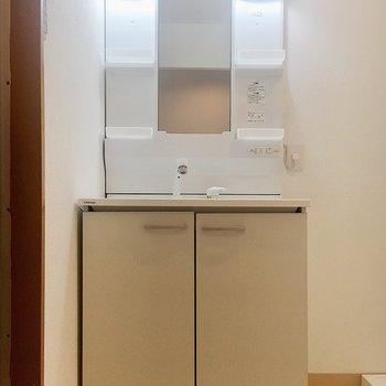 収納力のある独立洗面台です。
