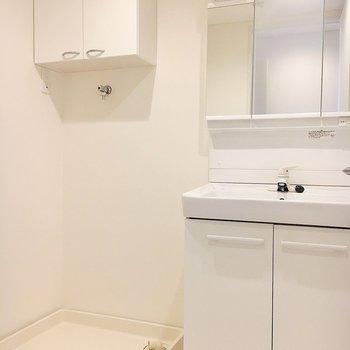 脱衣スペースには収納力のある独立洗面台と洗濯機置き場。