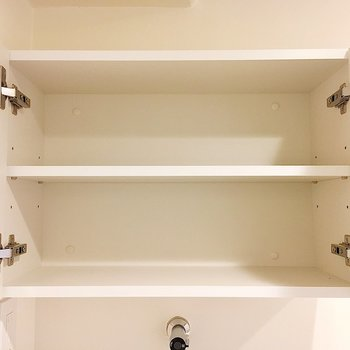 洗濯機置き場の上には扉付き収納があります。洗剤やタオルをどうぞ。