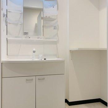 脱衣所。洗濯機置場もここに置きましょう。棚付き。(※写真は4階の反転間取り別部屋のものです)