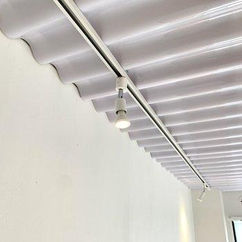 天井はトタンとライティングレールでクールに。