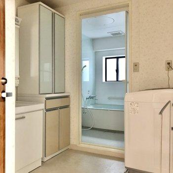 最後はサニタリーです。トイレも同空間ですが、開けた扉の奥にあるので隠れています。
