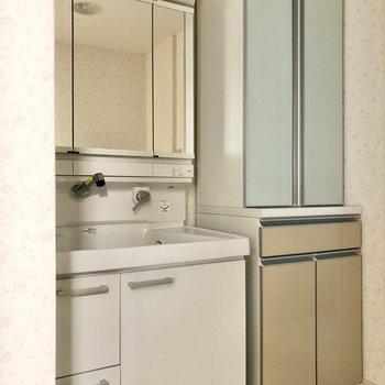 トイレと隔たれた壁の隣に、独立洗面台と収納棚です。