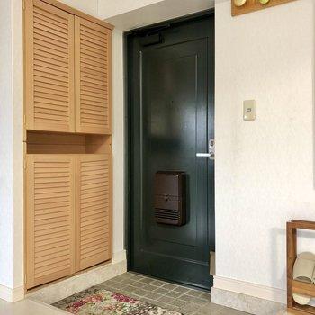 玄関スペースは重厚感もありつつもナチュラルな装い。開けてすぐ居室が広がるので狭く感じません。