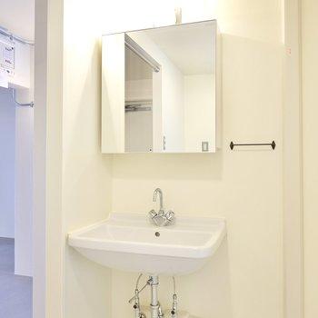 入って左手にはインダストリアルな洗面台。いつもの身支度をちょっと特別にしてくれそう。