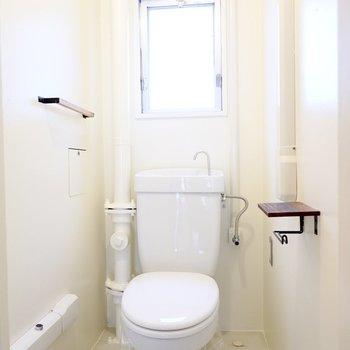 トイレも同じくシンプルですが、木とアイアンの小物でこだわりをプラス。