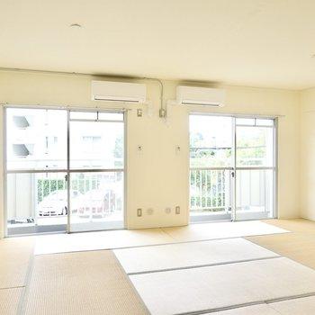 たっぷり14帖の和室はリビングとしても使えます。床に座ってごろごろのんびりと過ごせます。