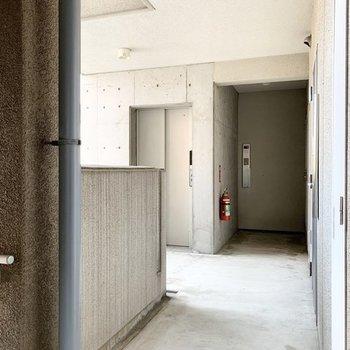 共用廊下もコンクリートで雰囲気を揃えて。エレベーターもしっかりあります。