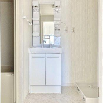 入ると小さめの洗面台と洗濯機置き場。新品で嬉しいですね。