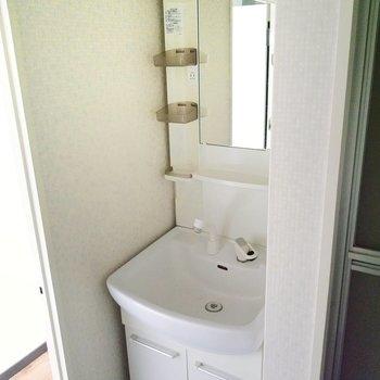 しっかりとした洗面台もあります。朝の身支度はここで。