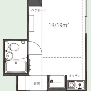 ゆったりとした居室が特徴的な1R。