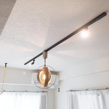 職人手づくりのライティングレールと照明。こだわりが感じられるデザインです。※家具・小物はサンプルです