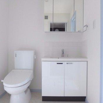 トイレと洗面台は同じ空間(※写真は2階の同間取り別部屋のものです)