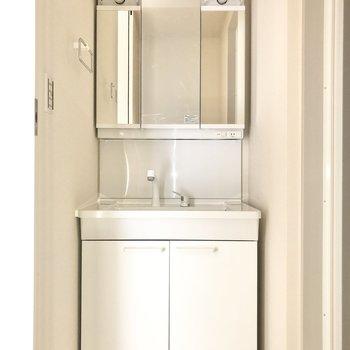 脱衣所には洗面台と。