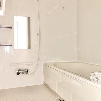 浴室乾燥用のポールは2つあります。(※写真はフラッシュを使用しています)