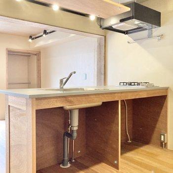 上部に吊り下げ棚、サイドにフックがあります。キッチン下の空間にはラックなど入れ込むとよさそう。