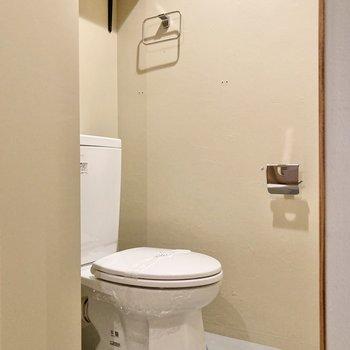 トイレ上部にも棚があります。