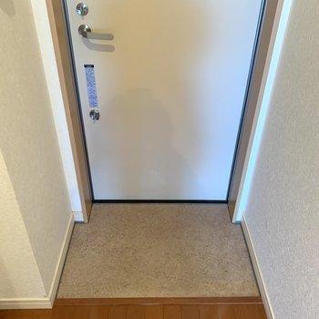 コンパクトな玄関。靴はこまめに収納するといいですね。