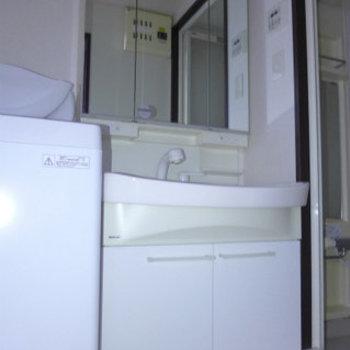 洗面台も大きめなので使い勝手good!(※写真は4階の同間取り別部屋、モデルルームのものです)