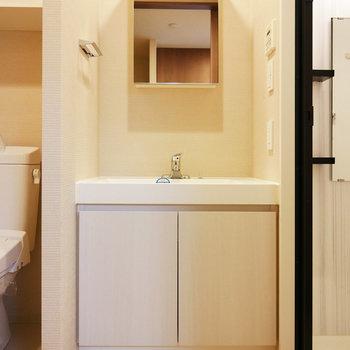 大きい洗面台(※写真は4階の反転間取り別部屋のものです)