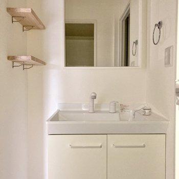 シンプルですが大きな洗面台。清潔感がありますね。