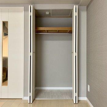 クローゼットのスペースが足りない場合は、広いお部屋と併用してみてください(※写真は別部屋のものです)
