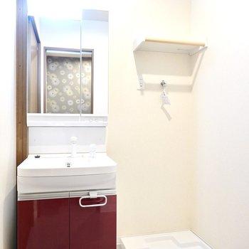 鏡が大きいと身支度もしやすいですよね。洗剤置き場になる素敵な棚も設置されています。