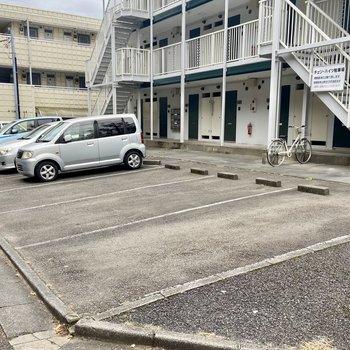車は建物の前に置けますよ。