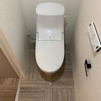 その向かいにトイレ。もちろん温水洗浄便座付き。