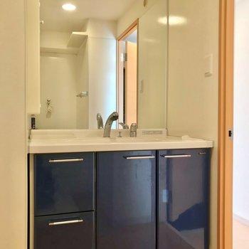 大きな鏡付きの洗面台では、朝の支度も捗りそうです。 (※写真は3階の同間取り別部屋のものです)