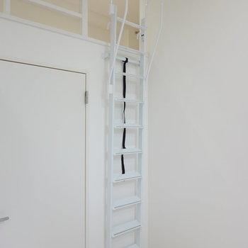 ロフトへのハシゴは使わないときには壁に立て掛けておけます。(※写真は1階同間取り別部屋のものです)