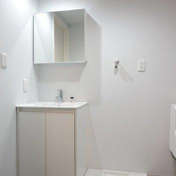 手前には洗濯機置場と洗面台。鏡の裏は収納なので化粧品類の散らかりも防げます。(※写真は1階同間取り別部屋のものです)