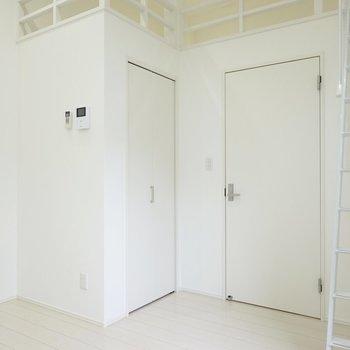 クローゼットとキッチンへのドア、ロフトへのハシゴが一面に集結。(※写真は1階同間取り別部屋のものです)