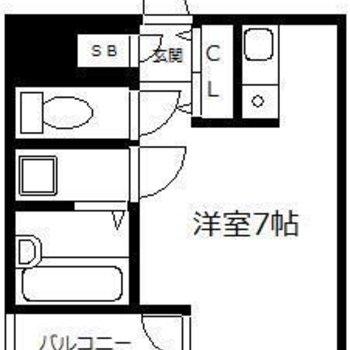 1人暮らしにちょうどいいワンルームのお部屋。