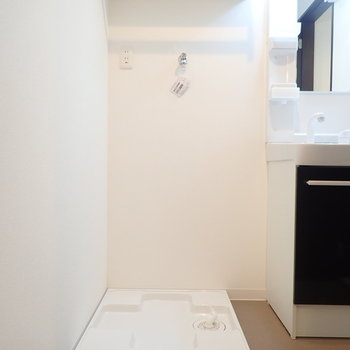 洗濯機の上には棚が。タオル置きなどに。