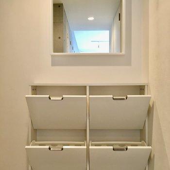 靴箱はドレッサーのよう。お出かけ前のチェックにいいな◎※写真は2階の同間取り別部屋のものです