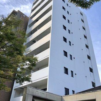 大通りに面する、白が際立つこちらのマンション。