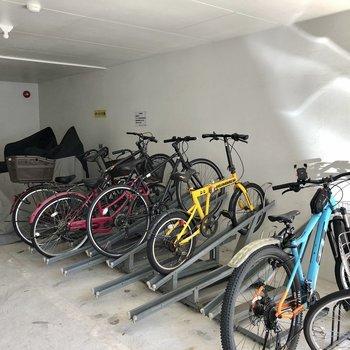 自転車置き場はマンション下に。濡れませんね!