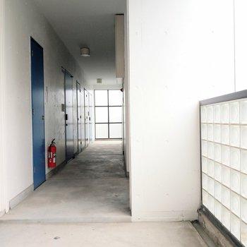 ガラスブロックとブルーの扉が爽やかな共用廊下。エレベーターに1番近いお部屋◎