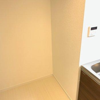 キッチンのすぐ隣に、冷蔵庫置場を発見。