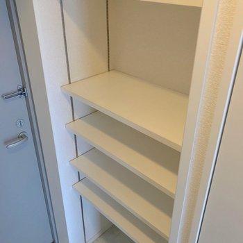 可動棚には靴をたっぷり並べられます。お気に入りのものが映えそうです。(※写真は7階の同間取り別部屋のものです)