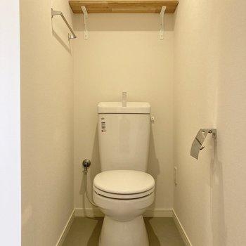 棚付きのトイレはゆったりしています。