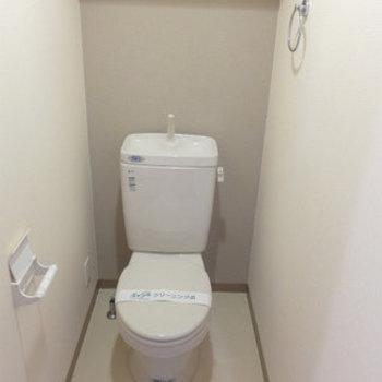 トイレもシンプルですが、それで良いのだ!(※写真は5階の反転間取り別部屋のものです)