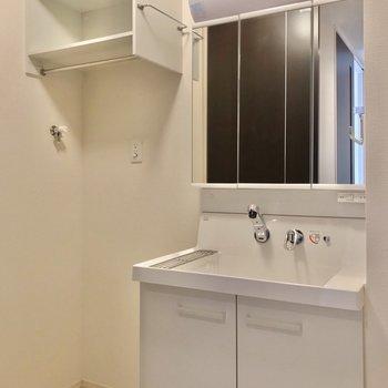 どっしり洗面台で朝の支度もラクラクです。 (※写真は1階の反転間取り別部屋のものです)
