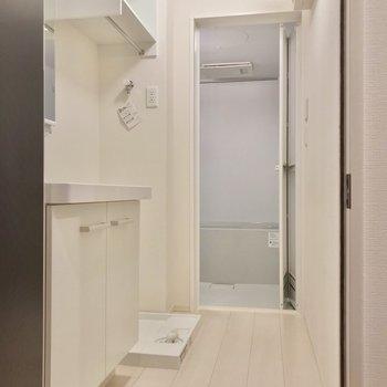 玄関入って正面に脱衣所。洗濯機上の棚が便利!(※写真は2階の反転間取り別部屋のものです)