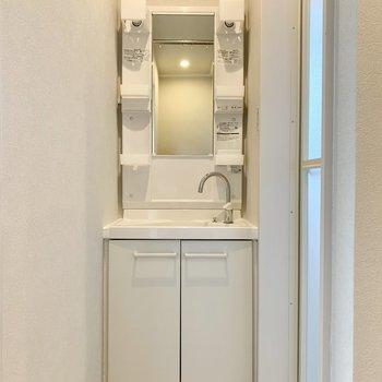 バスルーム入り口に洗面台あります。突っ張り棒と暖簾で脱衣所としても。