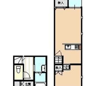 メゾネットタイプ。玄関や水回りは下の階に。