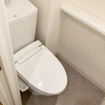 トイレのサイドには芳香剤などが置けそうな溝が。