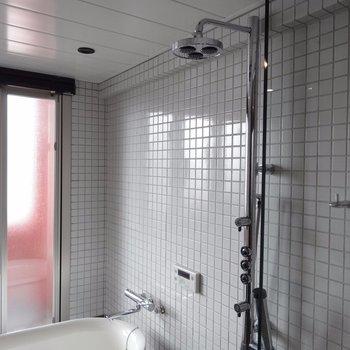 シャワーもすごいのついてる。(※写真は5階の同間取り別部屋のものです)